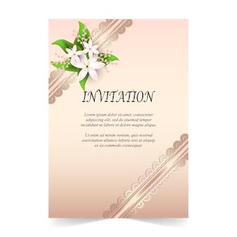 Carte d'invitation et bouquet de flore