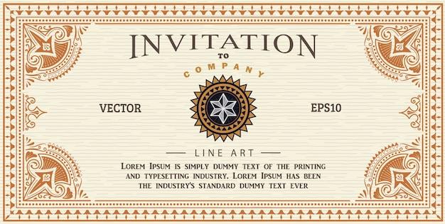 Carte d'invitation cadre antique étiquette gravure frontière