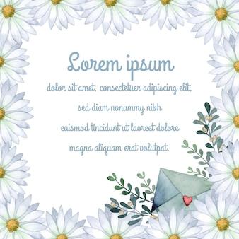 Carte d'invitation de cadre aquarelle marguerite romantique