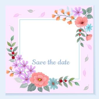 Carte d'invitation avec cadre de belles fleurs