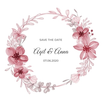 Carte d'invitation de cadre de couronne de fleur rose de cercle classique