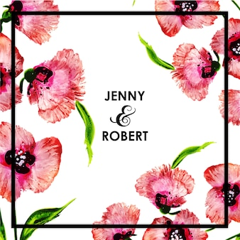Carte d'invitation de cadre de mariage floral aquarelle
