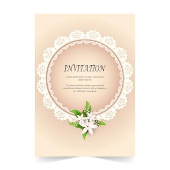 Carte d'invitation, carte de mariage avec ornement
