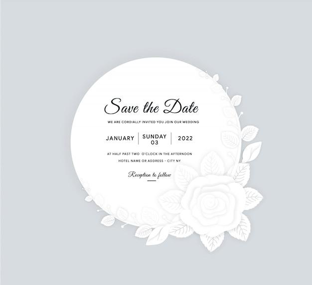 Carte d'invitation cercle blanc avec effet papier découpé