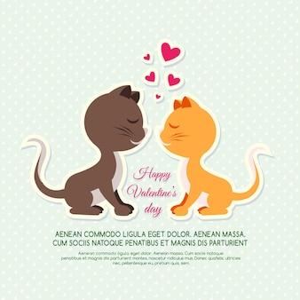 Carte d'invitation avec des chats pour la saint valentin