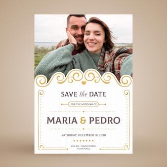Carte d'invitation de couple de mariage