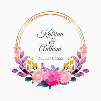 Carte d'invitation avec couronne florale aquarelle