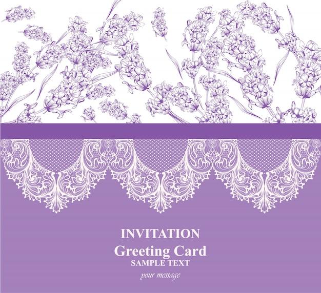 Carte d'invitation avec décor de lavande et de dentelle.
