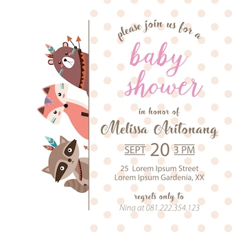 Carte d'invitation de douche de bébé adorable