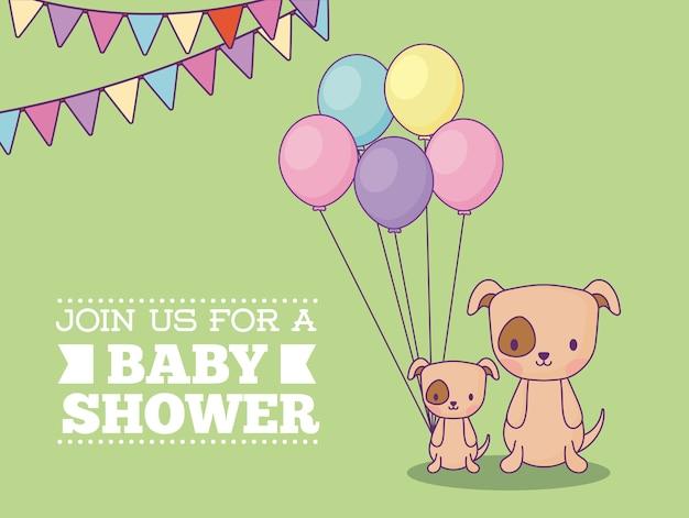 Carte d'invitation de douche de bébé avec des chiens mignons avec des ballons sur fond vert, design coloré. vec