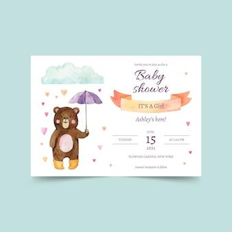 Carte d'invitation de douche de bébé chuva de amor peinte à la main