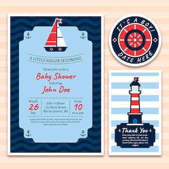 Carte d'invitation de douche de bébé avec des éléments nautiques