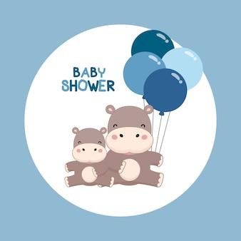 Carte d'invitation de douche de bébé. hippopotame mignon avec dessin animé de ballons.