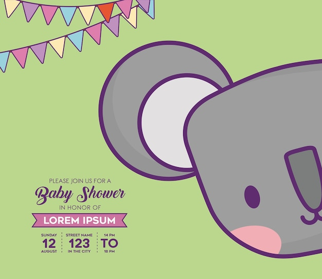 Carte d'invitation de douche de bébé avec icône de singe mignon et fanions décoratifs