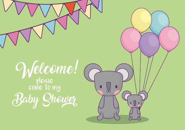 Carte d'invitation de douche de bébé avec des koalas mignons avec des ballons sur fond vert, design coloré. v