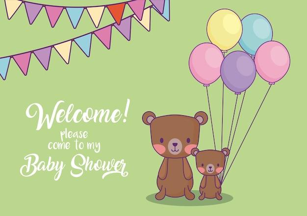 Carte d'invitation de douche de bébé avec des ours mignons avec des ballons sur fond vert, design coloré. ve
