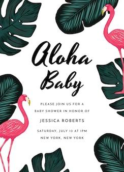 Carte d'invitation de douche de bébé tropicale de conception d'invitation de douche de bébé