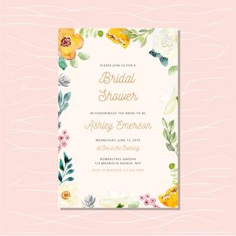 Carte d'invitation de douche nuptiale avec cadre floral aquarelle