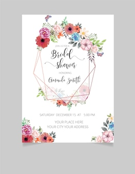 Carte d'invitation de douche nuptiale