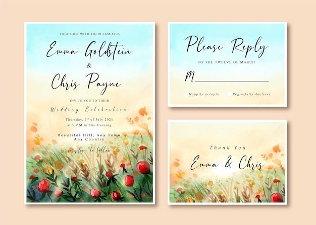 Carte d'invitation edding avec beau paysage de roseraie