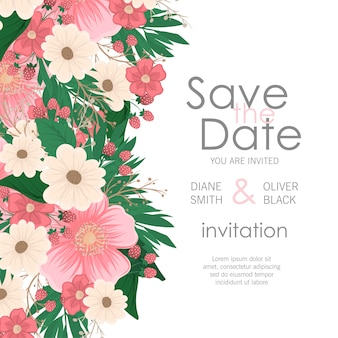 Carte d'invitation élégante de faire-part de mariage floral