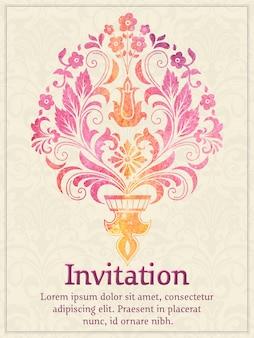 Carte d'invitation avec élément damassé aquarelle sur le fond de damassé clair