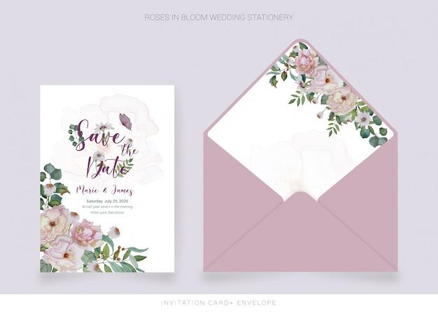 Carte d'invitation, enveloppe avec fleurs peintes à l'aquarelle