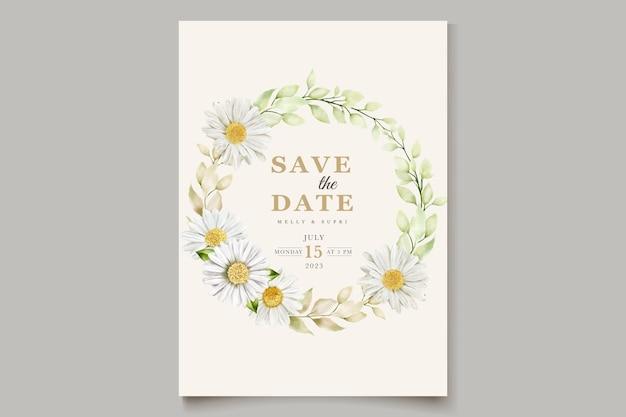 Carte d & # 39; invitation d & # 39; été aquarelle chrysanthème