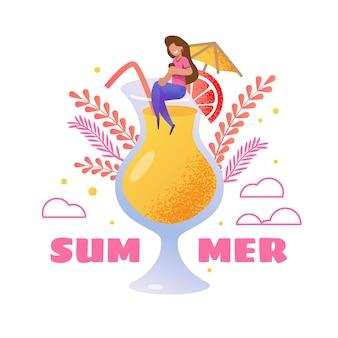 Carte d'invitation d'été. femme de bande dessinée vecteur assis sur un grand verre rempli