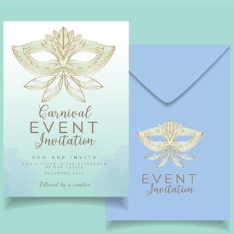 Carte d'invitation à un événement féminin élégant sur le thème du carnaval