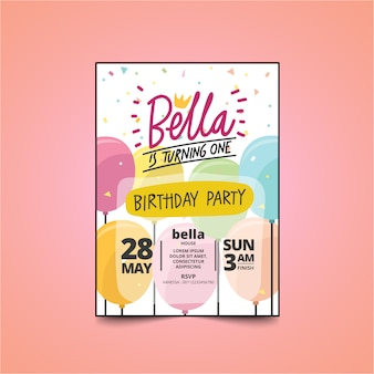 Carte d'invitation fête d'anniversaire enfants avec un design mignon. thème ballon