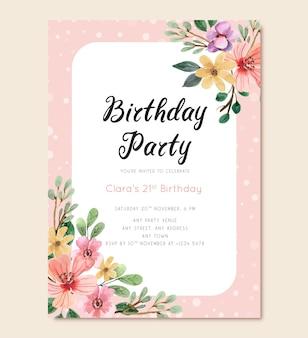 Carte d'invitation de fête d'anniversaire avec fleurs et polkadot