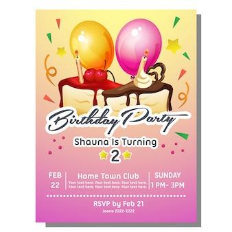 Carte d'invitation fête d'anniversaire avec gâteau tranche sucrée