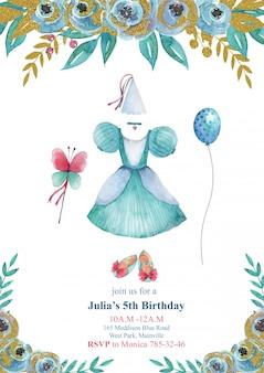Carte d'invitation de fête d'anniversaire pour enfants avec petite robe de princesse bleue, belles chaussures et fleurs