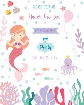 Carte d'invitation de fête d'anniversaire thème de sirène mignon.