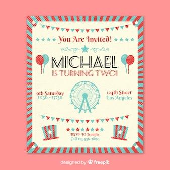 Carte d'invitation de fête de cirque vintage