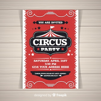 Carte d'invitation de fête de cirque