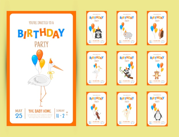 Carte d'invitation de fête colorée avec un animal mignon