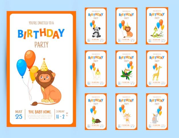 Carte d'invitation fête colorée avec des animaux marrants sur fond blanc