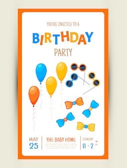 Carte d'invitation fête colorée avec des articles de fête sur fond blanc.
