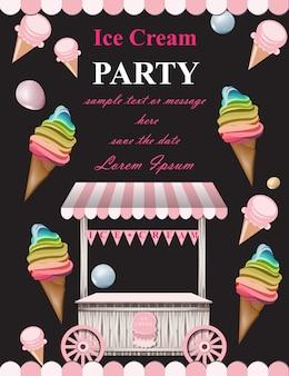 Carte d'invitation de fête de crème glacée