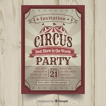 Carte d'invitation de fête du cirque