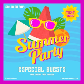 Carte d'invitation fête estivale tropicale