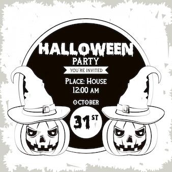 Carte d'invitation fête halloween en noir et blanc