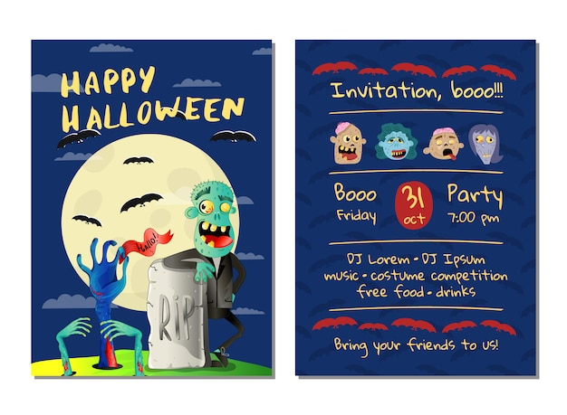 Carte d'invitation fête halloween avec zombie heureux