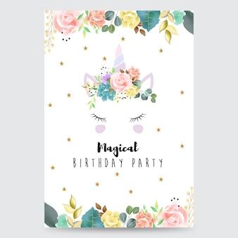 Carte d'invitation fête magique avec une licorne