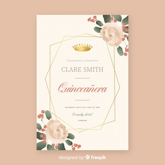 Carte d'invitation de fête quinceañera