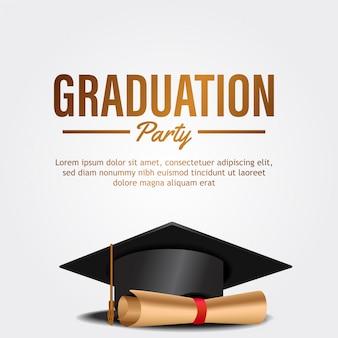 Carte d'invitation de fête de remise des diplômes de luxe avec chapeau et papier
