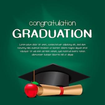 Carte d'invitation de fête de remise des diplômes de luxe avec chapeau