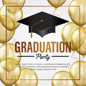 Carte d'invitation de fête de remise des diplômes de luxe